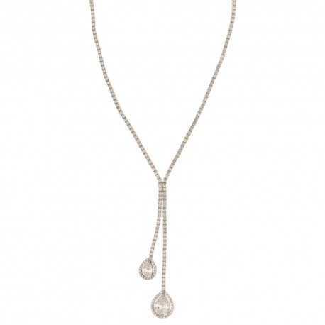 white gold 18k tennis type with white zirconia for bride necklace