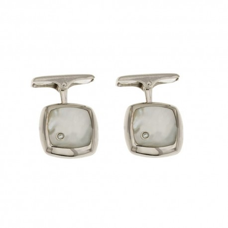 White gold 18k 750/1000 with diamonds and mother of pearl man square cufflinks