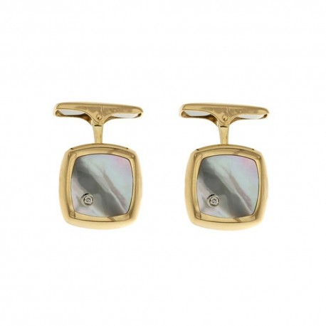 Yellow gold 18k 750/1000 with diamonds and mother of pearl man square cufflinks