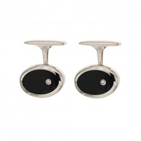 White gold 18k 750/1000 with diamonds and black onyx man ovals cufflinks