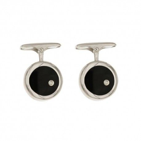 White gold 18k 750/1000 with diamonds and black onyx man rounds cufflinks