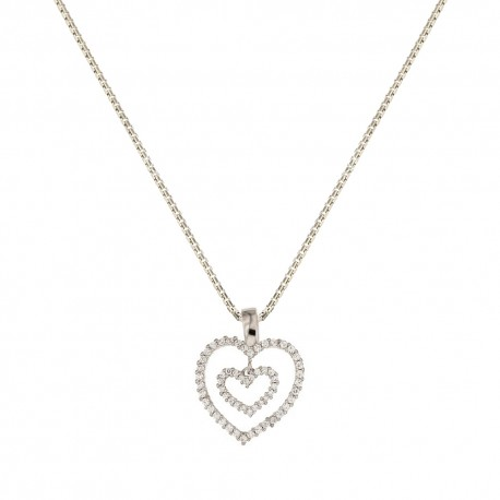 White gold 18 Kt 750/1000 double heart pendant with cubic zirconia woman necklace