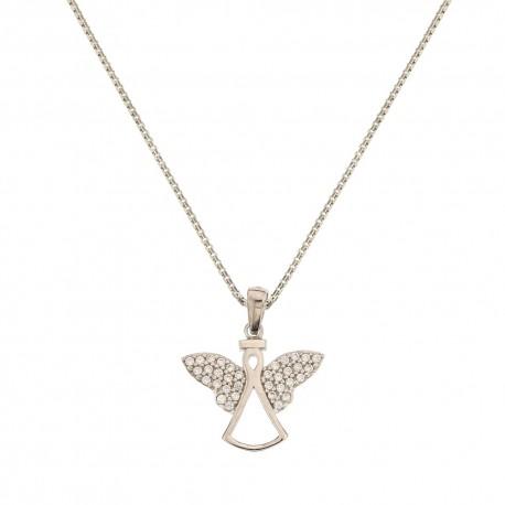 Collana in oro bianco 18 Kt 750/1000 con pendente a forma di angelo da donna