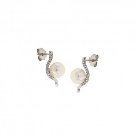 Yellow gold 18k 750/1000 with Pearl and zircon earrings
