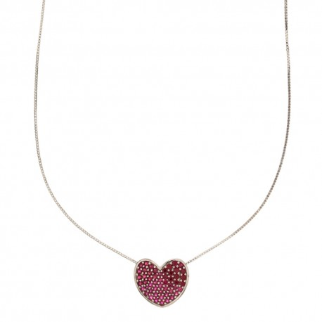 White gold 18k 750/1000 heart shaped pendant with green zirconia woman choker