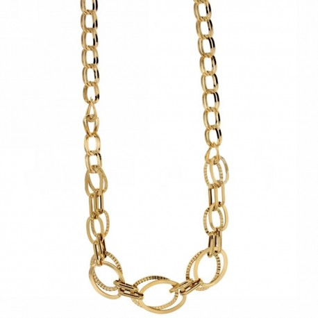 Yellow gold 18k 750/1000 shiny and diamond-cut woman link chain