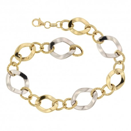 Gold 18 Kt 7500/1000 link chain shiny and hammered woman bracelet