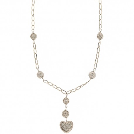 White gold 18k 750/1000 with pendant heart and white cubic zirconia spheres necklace